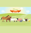 farm domestic animals banner vector image