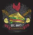 fast food logo design template sandwich vector image vector image