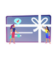 female shopper likes gift card with bow and ribbon vector image