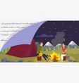 flat banner young family went camping vector image