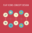 flat icons scales water bearer archer and other vector image vector image
