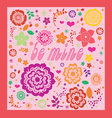 floral ornamental valentine greeting card vector image vector image
