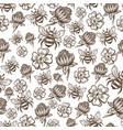 flying bee and flowers in bloom seamless pattern vector image