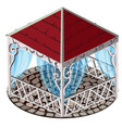 forged gazebo with red roof blue lace curtains vector image vector image
