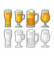 four different glasses for beer engraving vector image vector image