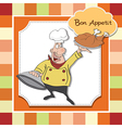 funny cartoon chef with tray of food in hand vector image vector image