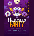 halloween disco party poster with kawaii donuts vector image