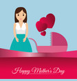 happy mothers day card mom with baby carriage vector image