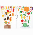 healthy lifestyle concept choose what you eat vector image vector image
