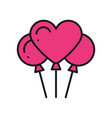 heart shaped balloon icon air balloon sign and vector image vector image
