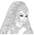 indian or turkish woman adult coloring page vector image vector image