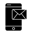 mobile phone sms solid icon mail on smartphone vector image