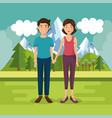 parents couple outside in landscape vector image