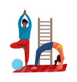 people doing exercises young man and woman vector image