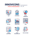 photo processing - line design icons set vector image vector image