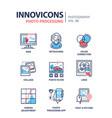 photo processing - line design icons set vector image