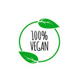 round vegan eco bio green logo with leaf vector image vector image