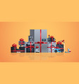 set different home appliances wrapped with red vector image