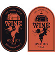set labels for wine with barrel and grapes vector image