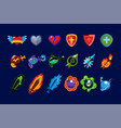 set mobile game assets hearts defense vector image vector image