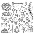 set of hand drawn doodle love elements for wedding vector image vector image