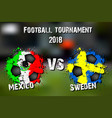 soccer game mexico vs sweden vector image vector image