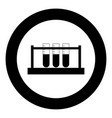test tube icon black color in circle vector image