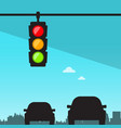traffic lights - semaphore in city with cars vector image
