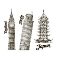 Travel Hand drawn sketch England Italy Japan vector image