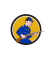 Union Army Soldier Bayonet Rifle Circle Cartoon