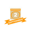 2 september calendar with ribbon vector image
