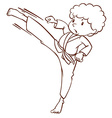 A simple sketch of a boy doing martial arts vector image vector image