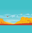 american desert in sun day with blue sky prairie vector image