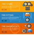 banners set of tire service vector image vector image