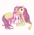 Beautiful princess and her lovely faithful horse vector image vector image