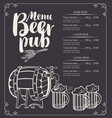 beer pub menu with barrel and full beer glasses vector image vector image
