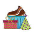 birthday cupcake gift box and party hat decoration vector image vector image