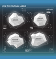 black and white low polygonal labels elements for vector image vector image