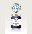 blueberry jam label packaging can lid pattern vector image