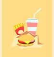 burger fast food meal and drink fat hamburger vector image vector image