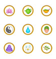chinese medicine icons set cartoon style vector image vector image