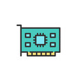 computer video card flat color line icon vector image vector image