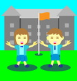 Concept of boy and girl happy time at school vector image