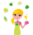 cooking woman preparing healthy green food vector image vector image