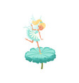 cute fairy hovering over flower and spreading vector image vector image