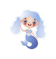 cute smiling mermaid girl with blue wavy knotted vector image