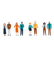 diverse group young people in pairs vector image vector image