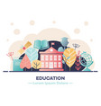 education banner with various symbols of studying vector image vector image