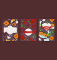 european food cafe menu cover meat and dessert vector image