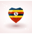 Flag of Uganda in shape diamond glass heart vector image vector image